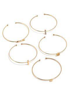 Love Heart Arrow Design Cuff Bracelets Set - Gold