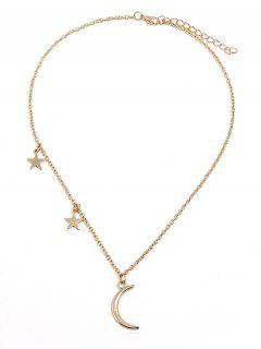 Crescent Moon Stars Design Chain Necklace - Gold