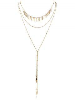Multilayer Chain Pendent Necklace - Gold