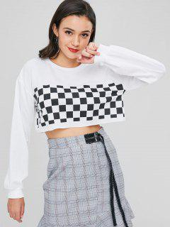 Cropped Boxy Plaid Sweatshirt - White M