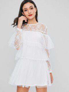 Layered Lace Sheer Mesh Dress - White L