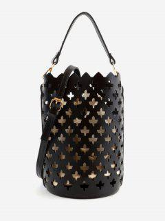 Multi Functions Hollow Out Leisure Bucket Bag - Black