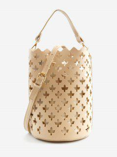 Multi Functions Hollow Out Leisure Bucket Bag - Apricot