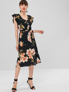 Button Up Flower Print Wrap Dress - Black S