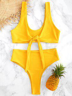 Hohe Taille Vorder Riemchen Hohes Bein Bikini - Niedliches Gummi Gelb L