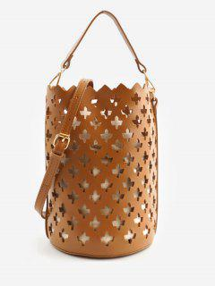 Multi Functions Hollow Out Leisure Bucket Bag - Brown