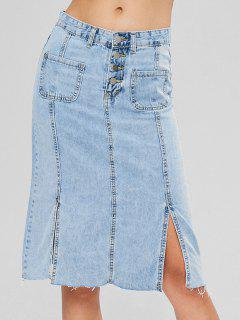 Patch Pockets Light Wash Midi Denim Skirt - Light Blue L