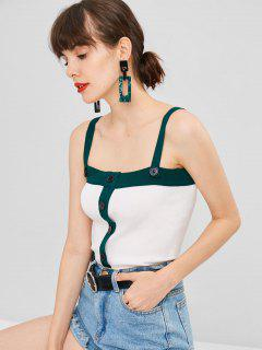 Buttoned Two Tone Knit Tank Top - White S