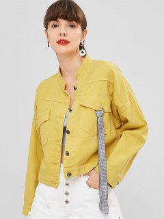 Belt Embellished Pockets Jacket - Corn Yellow L