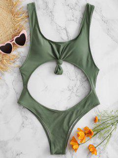 Ausgeschnittener Hohes Bein Knoten Badeanzug - Tarnanstrich Grün L
