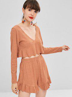 Long Sleeve Crop Top And Shorts Matching Set - Orange S