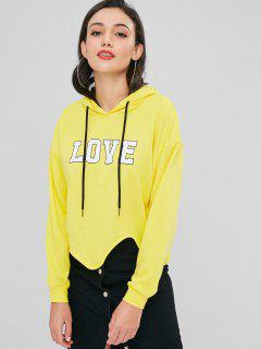 Asymmetrical Love Graphic Hoodie - Yellow M