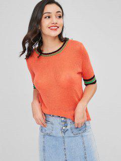 Lose Strick Streifen Panel Sweater - Mango Orange L