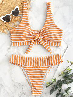 Tie Front Striped High Cut Bikini Set - Bee Yellow S