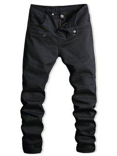 Paint Zip Embellished Biker Jeans - Black 38