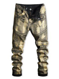 Paint Zip Embellished Biker Jeans - Gold 34