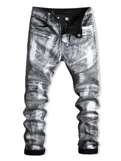 Paint Zip Embellished Biker Jeans - Silver 34