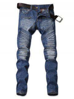 Zip Embellished Faded Wash Jeans - Denim Dark Blue 34