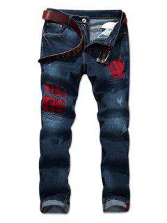 Plaid Print Panel Zip Fly Ripped Jeans - Denim Dark Blue 32