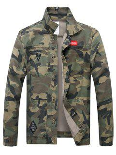 Applique Button Up Camouflage Jacket - Army Green Xl