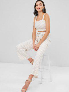 Striped Crop Tank Top And Pants Set - Apricot M