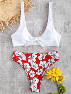 Ensemble Bikini à Taille Haute Avec Attache Motif  - Rouge Amour L