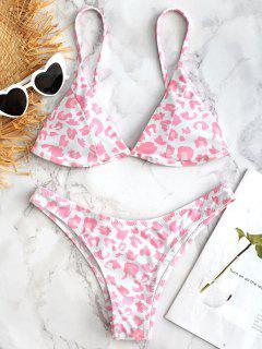 Leopard High Cut Slip Bikini Set - Weiß S