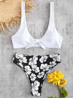 Tied Floral High Rise Bikini Set - Black L