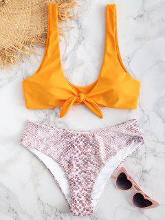 Conjunto De Bikini Con Estampado De Piedras Anudadas ZAFUL - Amarilla De Abeja  M