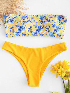Floral Strapless Bikini Set - Bright Yellow M