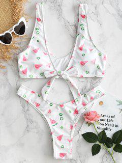 Watermelon Tie Front Bikini Set - White S