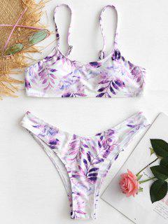Leaf High Cut Bikini Set - Weiß S