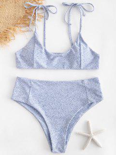 Bikini Taille Haute à Imprimé Cravate à épaules Dénudées - Ange Bleu  S