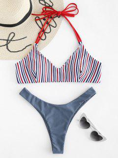 Halter Striped High Cut Bikini Set - Marble Blue L