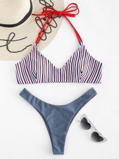 Neckholder Gestreiftes High Cut Bikini Set - Marmor Blau M