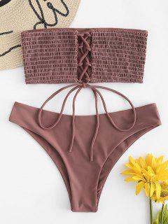 ZAFUL Lace-up Smocked Bikini Set - Rosy Finch M
