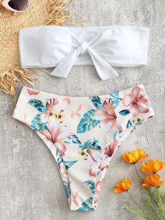 Bikini Bandeau à Taille Haute Motif Floral  - Blanc L