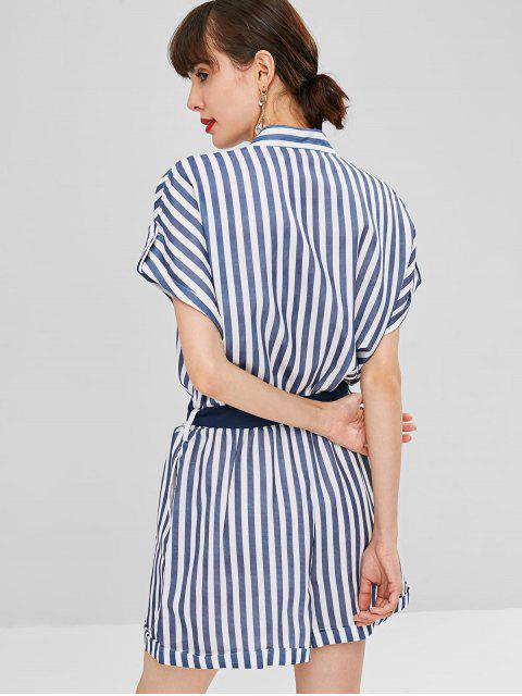 outfit Buttoned Striped Side Pockets Romper - MULTI S Mobile