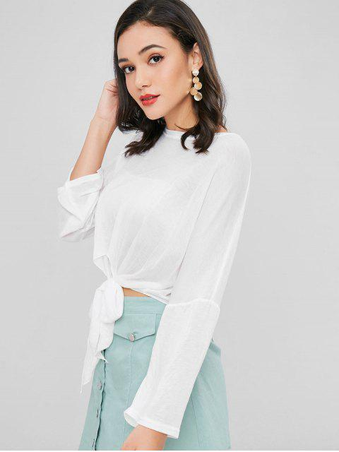 shops Semi Sheer Knotted Tee - WHITE ONE SIZE Mobile