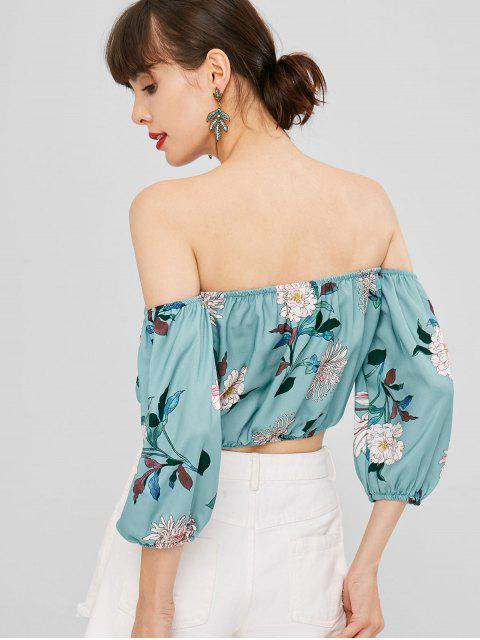 ladies Off The Shoulder Floral Printed Crop Top - CORAL BLUE M Mobile