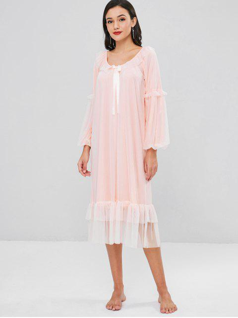 hot Mesh Flounce Lantern Sleeve Night Dress - PINK XL Mobile