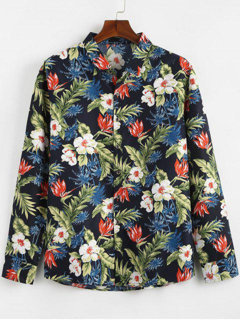 affordable Tropical Plants Printed Casual Shirt - NAVY BLUE 2XL Mobile
