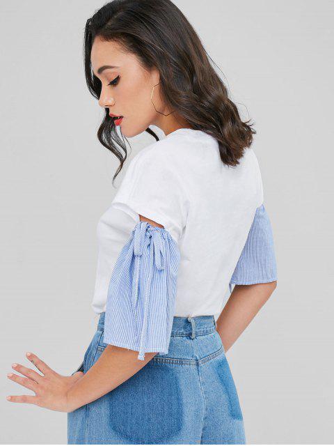 Gestreiftes Ärmel Ausschnittenes T-Shirt - Weiß XL Mobile