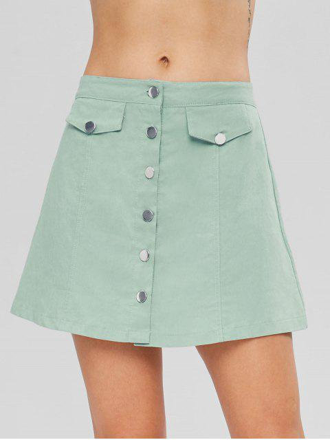 hot Button Up A Line Skirt - CYAN OPAQUE S Mobile