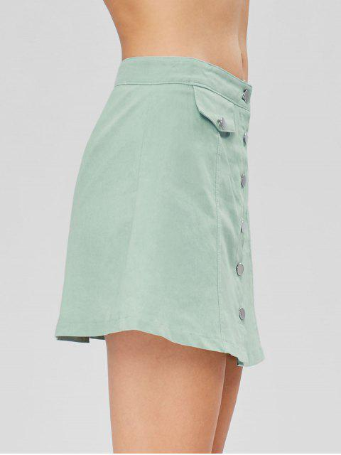 shops Button Up A Line Skirt - CYAN OPAQUE M Mobile