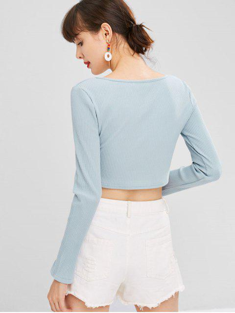best Scoop Ribbed Cropped Top - BABY BLUE M Mobile