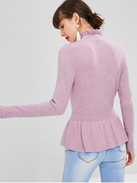 outfit Soft High Collar Peplum Sweater - MAUVE L Mobile