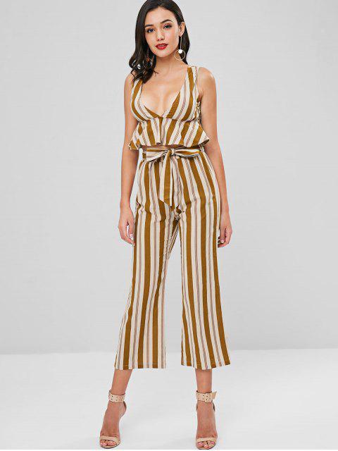 sale Low Cut Striped Belted Pants Set - CARAMEL XL Mobile