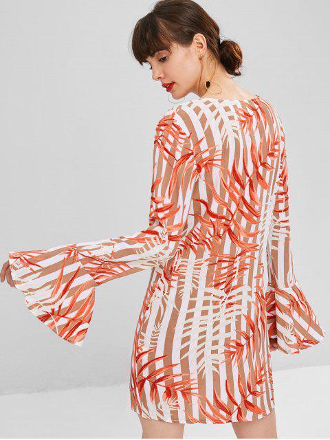 best Leaves Print Shift Bell Sleeve Dress - MULTI XL Mobile