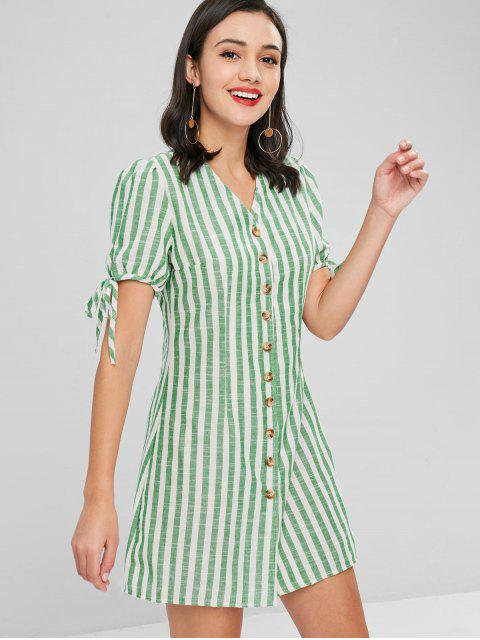 Robe Rayée avec Boutons - Vert Jaune XL Mobile